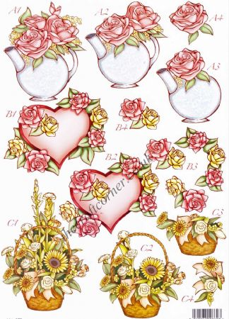 Red Hearts Die Cut 3d Decoupage Sheet From Craft UK Ltd